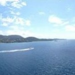 View of St. Thomas from our balcony cabin